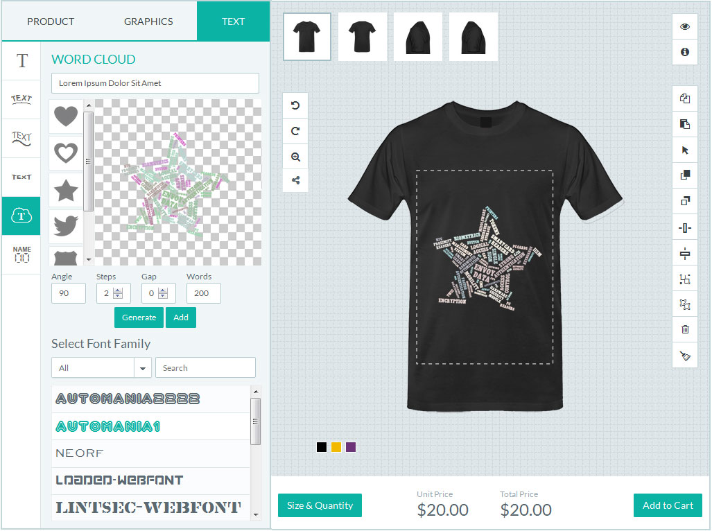HTML5 T-Shirt Designer Tool, Product designer application for Magento
