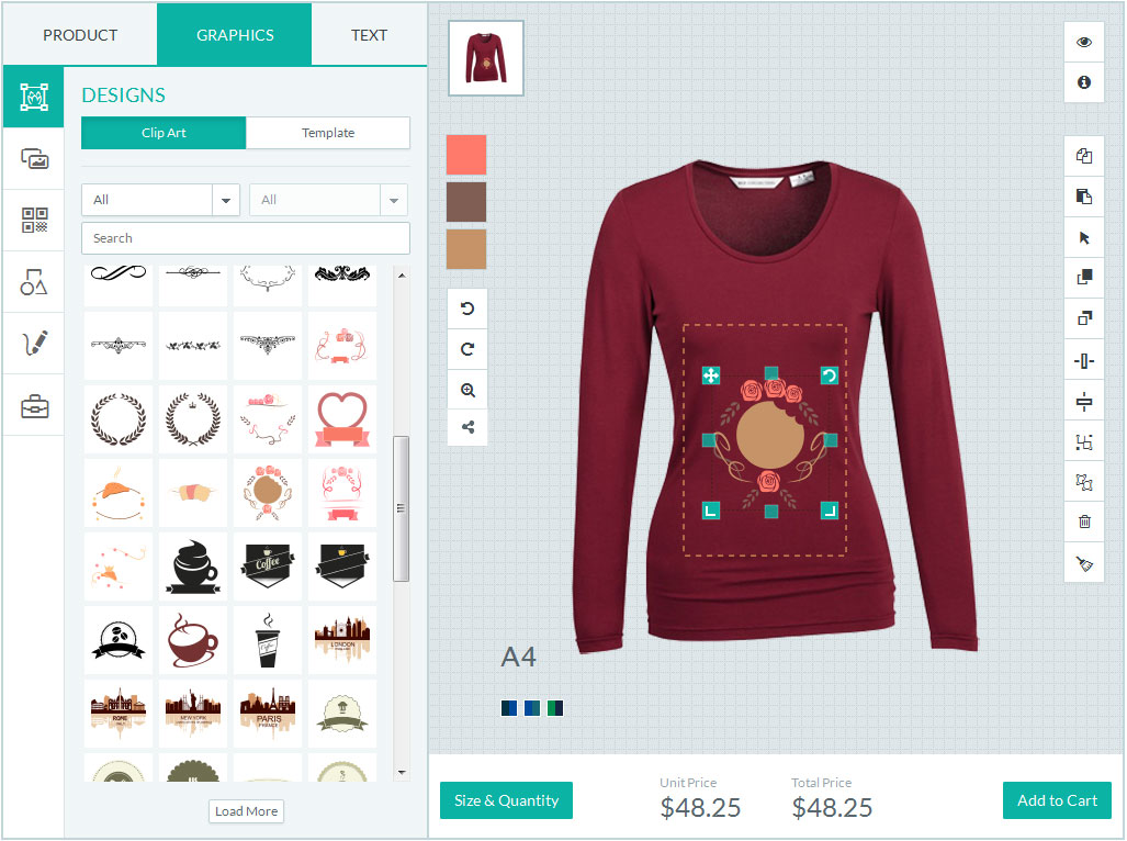 T shirt design jquery - Woo Commerce Tshirt Designer Tool User Friendly Design Options